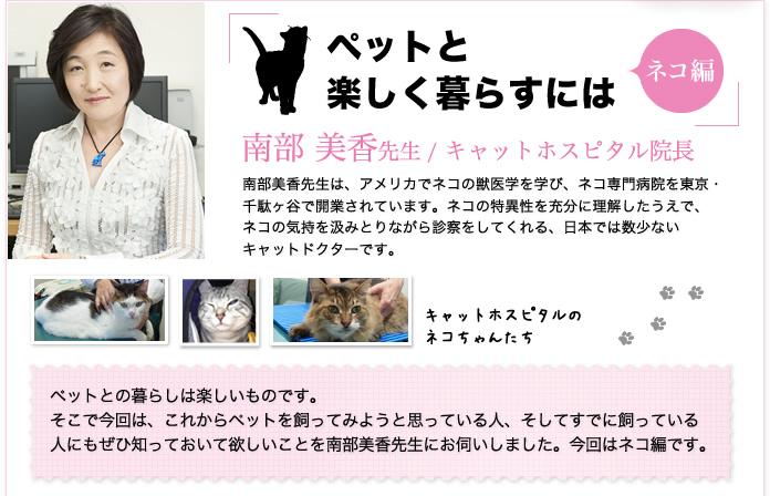 キャットホスピタル院長 南部 美香 先生「ペットと楽しく暮らすには」南部美香先生はアメリカでネコの獣医学を学びネコ専門病院を東京・ 千駄ヶ谷で開業。ネコの特異性を充分に理解したうえでネコの気持を汲みとりながら診察をしてくれる日本では数少ないキャットドクター。ペットを飼ってみようと思っている人やすでに飼っている人にもぜひ知っておいて欲しいことを南部美香先生にお伺い。ネコ編