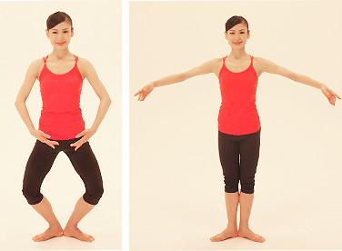 足は腰幅に開き、ひざ、つま先は真っ直ぐ正面に向けます