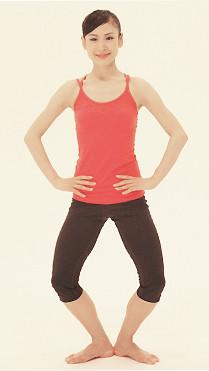 ①ひざを外向きに曲げてプリエを2回行います。