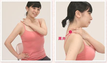 右手を腰に当てます。左手の中指と薬指を、右の肩の真ん中あたりの筋肉が一番盛り上がっているところにある、「肩井(けんせい)」のツボに当てます