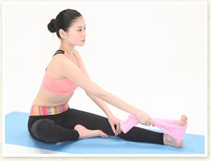 体が硬い方は、足の裏にフェイスタオルを引っ掛けて右手で持ちます