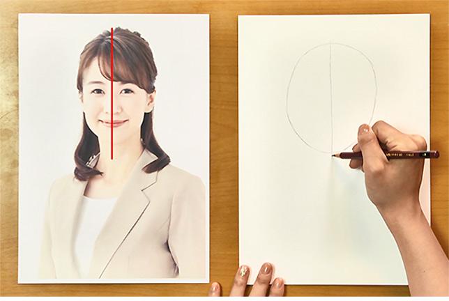②次に、中心線を描きます。