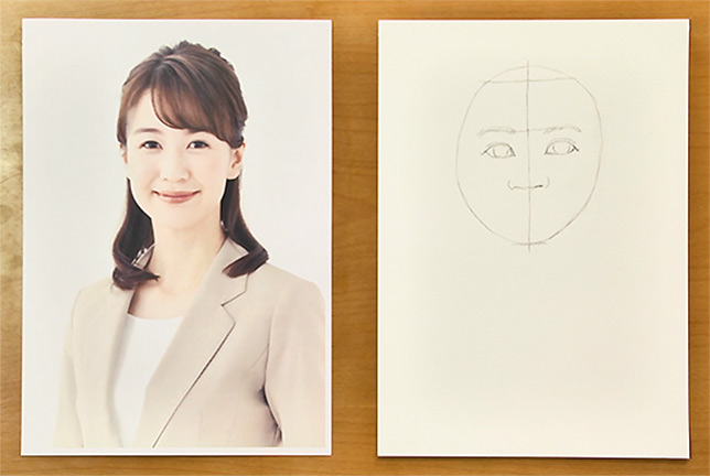 目が描けたら眉毛も一本一本描いてみましょう。