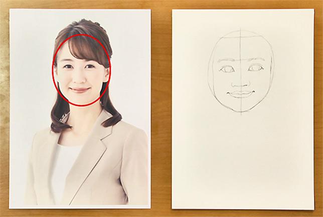 ⑧次に、目安の円を、顔の輪郭の形に変化させます。