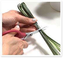 続いて、グリーン1のミスカンサスを配置します。5~6本を取り10cm程度の輪にして、セロハンテープまたはワイヤーで束ねて、カットします。これを2つ作ります。