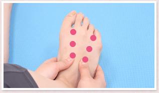 足首に向かって、足の甲を3か所順にもみほぐす
