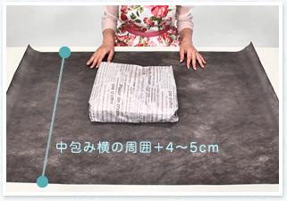 不織布を裏返し中央に中包みを横向きに。不織布の縦の長さは中包み横の周囲+4~5cm