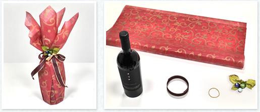 ボトルラッピングふろしき包み応用 ~ワインを包む~