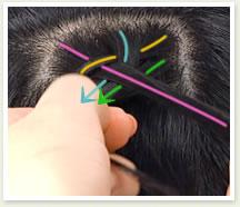 下の毛をすくって右の毛束と一緒に持ち真ん中の毛束の下側に重ねる
