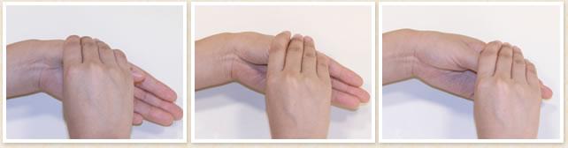 親指の位置を上にずらしながら3か所、同様に