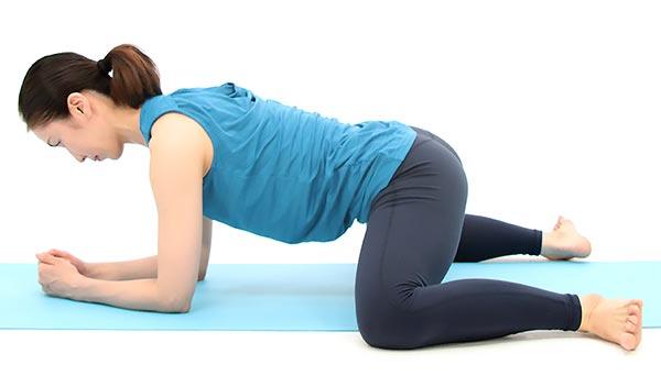 ひじをつき、ひざは大きく横に開き、足首は90度程度に曲げておきます。
