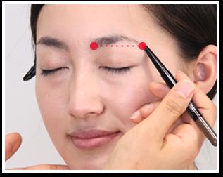 眉頭と眉尻の位置に印