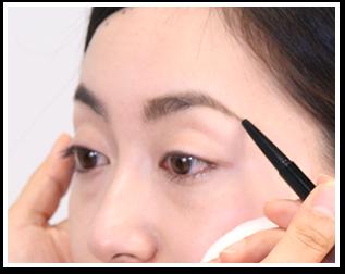 自身の眉毛の生えている方向を意識