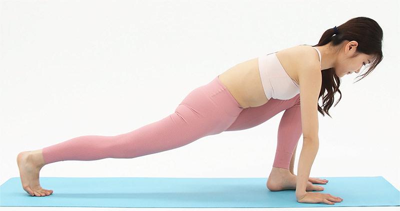 次に、両手を床につき、後ろ足はひざをしっかり伸ばします。