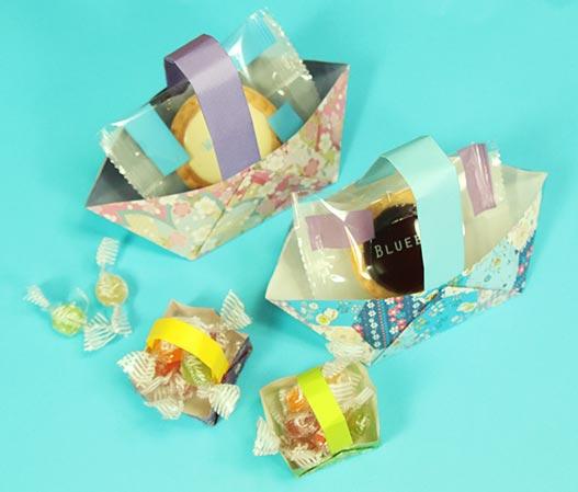 お菓子を入れたり、小物やアクセサリーを入れても可愛いバスケットの折り方です。