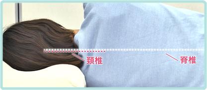 横向きに寝る場合も、真中が凹んだ形状と高反発ウレタン素材の反発力が、頚椎をまっすぐに支える