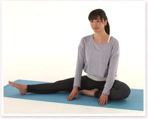 床に座り右足は右に伸ばし左足はひざを曲げてかかとを手前に